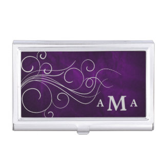 Monograma de plata púrpura elegante del remolino caja de tarjetas de negocios