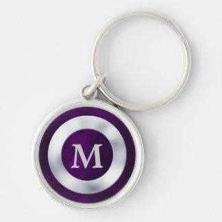 Monograma de plata púrpura llaveros personalizados