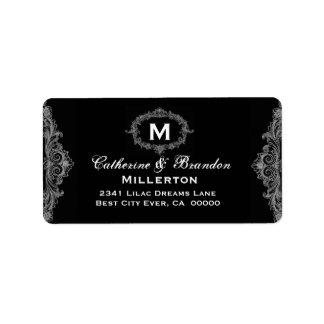 Monograma de plata y negro Curlicue G209 del vinta Etiquetas De Dirección