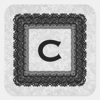 Monograma de plata y negro V004B del boda del Pegatina Cuadrada