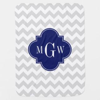 Monograma de Quatrefoil 3 de los azules marinos de Manta De Bebé