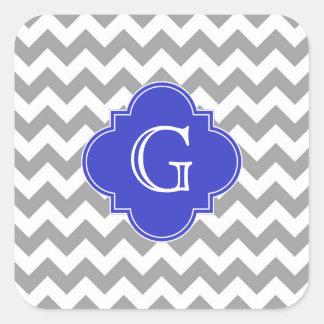 Monograma de Quatrefoil del azul de cobalto de Pegatina Cuadrada
