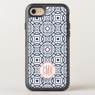 Monograma de Quatrefoil del coral y de la marina Funda OtterBox Symmetry Para iPhone 7