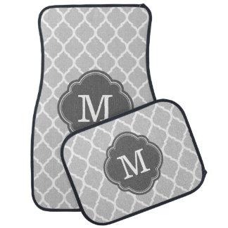 Monograma de Quatrefoil del marroquí del gris y Alfombrilla De Auto