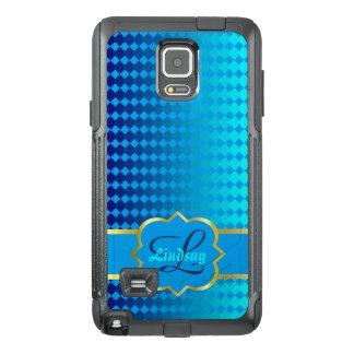 Monograma de Quatrefoil y modelo azul de los Funda OtterBox Para Samsung Note 4