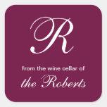 Monograma de R de la bodega de etiquetas cuadradas Pegatinas Cuadradas Personalizadas