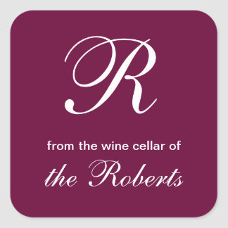 Monograma de R de la bodega de etiquetas cuadradas Pegatina Cuadrada