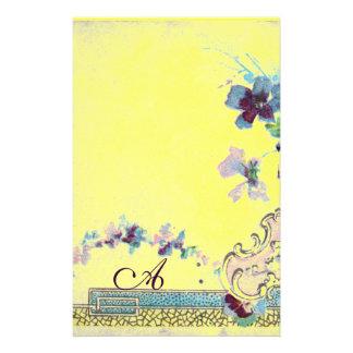 MONOGRAMA de ROMANTİCA 2, amarillo de la antigüeda Papelería De Diseño