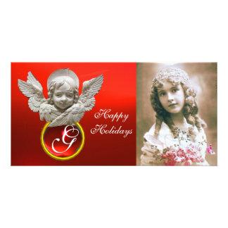 Monograma de rubíes rojo de la gema del ÁNGEL Tarjeta Con Foto Personalizada