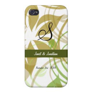 Monograma de S con un caso floral abstracto del iPhone 4 Carcasa