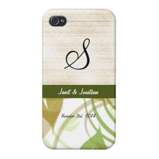 Monograma de S con un caso floral abstracto del iPhone 4 Carcasas