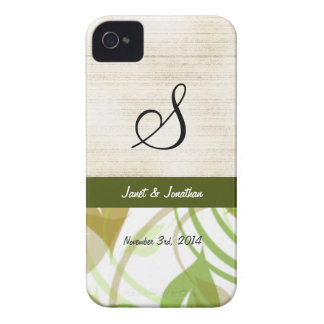 Monograma de S con una caja floral abstracta de iPhone 4 Case-Mate Cárcasas
