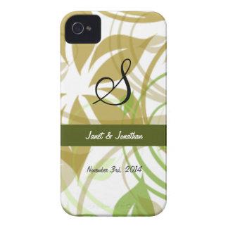 Monograma de S con una caja floral abstracta de iPhone 4 Case-Mate Protectores