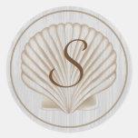 Monograma de Shell S Etiquetas Redondas