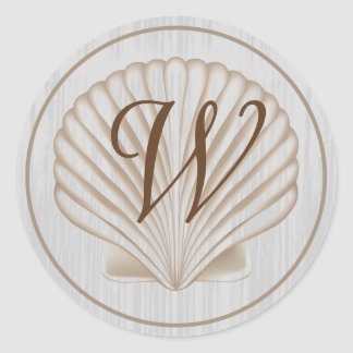 Monograma de Shell W Etiqueta