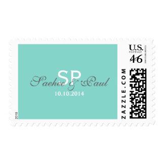 Monograma de Tiffany y fecha azules del boda