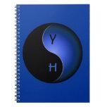 monograma de yang del yin - azul libretas