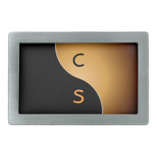 monograma de yang del yin - caramelo hebilla cinturon rectangular