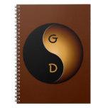 monograma de yang del yin - caramelo libreta espiral