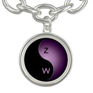 monograma de yang del yin - púrpura pulsera con dije