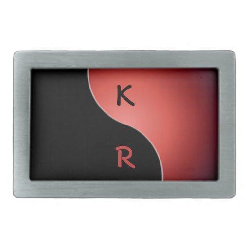 monograma de yang del yin - rojo hebilla de cinturon rectangular