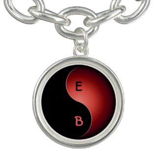 monograma de yang del yin - rojo pulseras