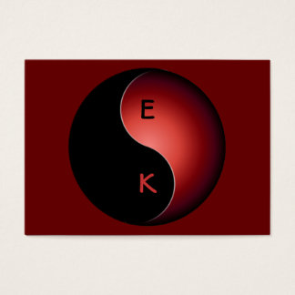 monograma de yang del yin - rojo tarjetas de visita grandes