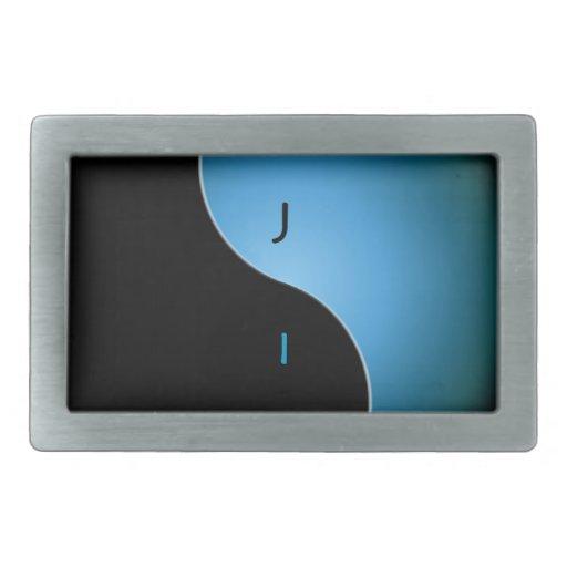 monograma de yang del yin - turquesa hebillas cinturon rectangulares