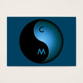 monograma de yang del yin - turquesa tarjetas de visita grandes