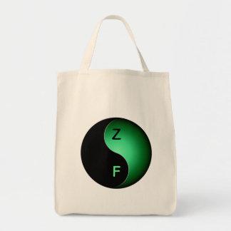 monograma de yang del yin - verde bolsa tela para la compra