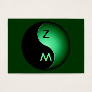 monograma de yang del yin - verde tarjetas de visita grandes