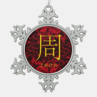 Monograma de Zhou Adorno De Peltre En Forma De Copo De Nieve