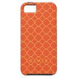 Monograma del amarillo anaranjado 3 del modelo del iPhone 5 Case-Mate cobertura