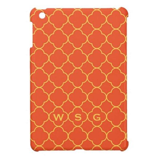 Monograma del amarillo anaranjado 3 del modelo del iPad mini fundas