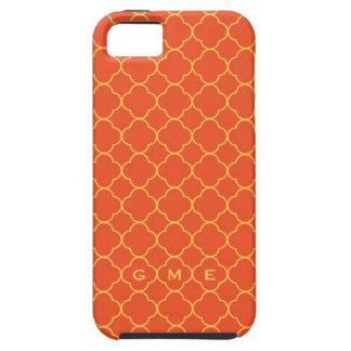 Monograma del amarillo anaranjado 3 del modelo del funda para iPhone SE/5/5s
