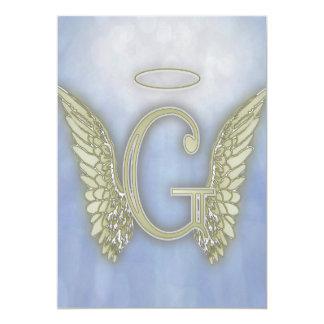 """Monograma del ángel de G de la letra Invitación 5"""" X 7"""""""
