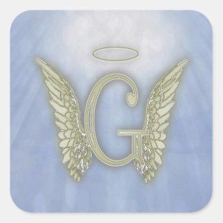 Monograma del ángel de G de la letra Pegatina Cuadrada