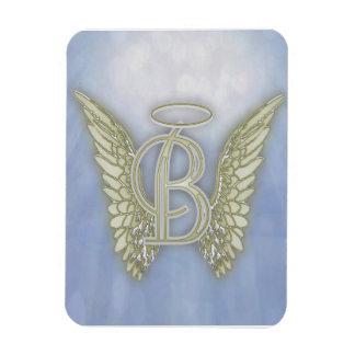 Monograma del ángel de la letra B Imán Flexible