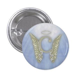 Monograma del ángel de la letra C Pin Redondo De 1 Pulgada