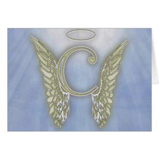 Monograma del ángel de la letra C Tarjeta Pequeña