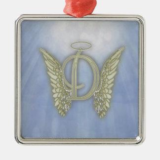 Monograma del ángel de la letra D Adorno Navideño Cuadrado De Metal