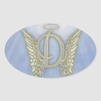 Monograma del ángel de la letra D Pegatina Ovalada
