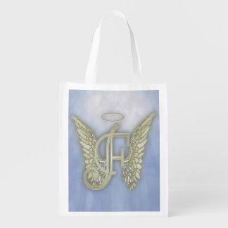 Monograma del ángel de la letra F Bolsas De La Compra