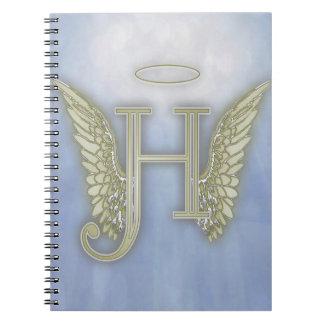 Monograma del ángel de la letra H Libro De Apuntes Con Espiral