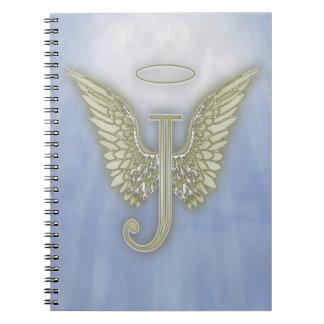 Monograma del ángel de la letra J Libretas Espirales
