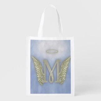 Monograma del ángel de la letra M Bolsas Para La Compra