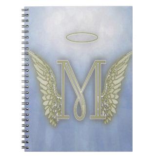 Monograma del ángel de la letra M Libretas