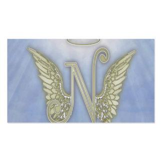 Monograma del ángel de la letra N Plantilla De Tarjeta Personal