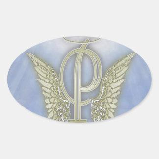 Monograma del ángel de la letra P Pegatina Ovalada