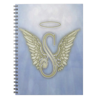 Monograma del ángel de la letra S Spiral Notebook